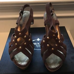 Prada cork brown studded wedge sandals